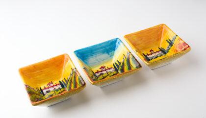 Set tre ciotole creato e decorato a mano ceramica fiorentina