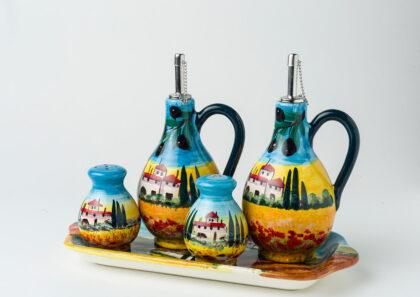 Set olio aceto , sale e pepe decorato a mano ceramica fiorentina