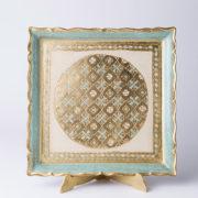 artigianato fiorentino vassoio in legno quadro avorio azzurro