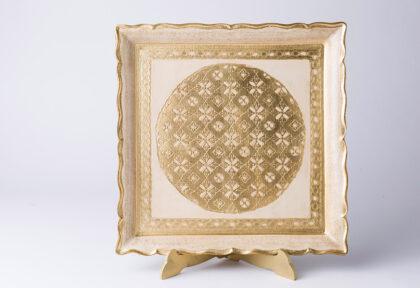 artigianato fiorentino vassoio in legno quadro avorio