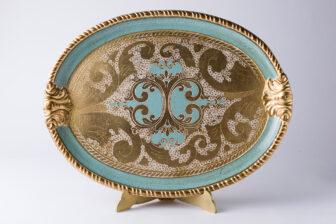 vassoio artigianato fiorentino azzurro