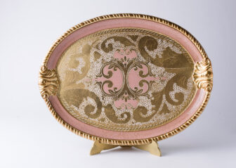 Oval wood tray Florentine craftsmanship