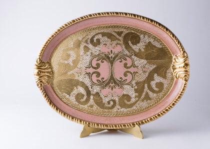 vassoio artigianato fiorentino rosa