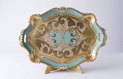 artigianato fiorentino vassoio in legno azzurro