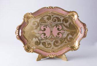 artigianato fiorentino vassoio in legno rosa